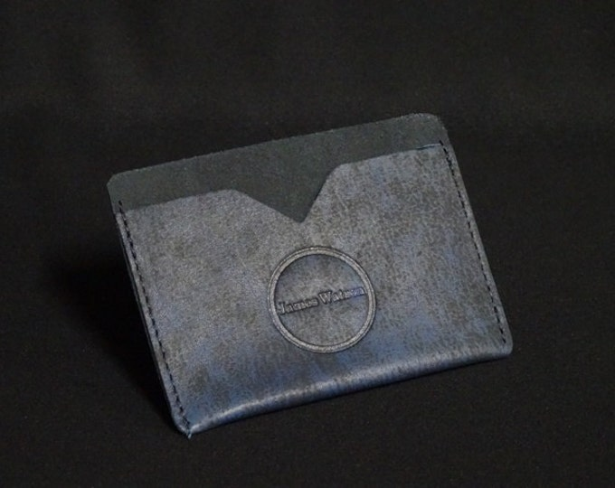 Pocket Wallet - Blue Art (4of5) - Kangaroo leather with RFID credit card blocking - Handmade - James Watson