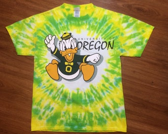 Vintage university of oregon ducks tie dye t shirt mens medium 90s college football ncaa disney