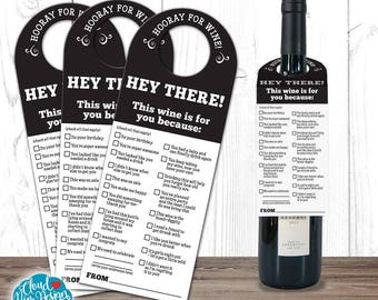 Wine Tags, Wine Labels - Thank you Wine Tag- Wine Bottle Tag - Birthday Wine - Wine Gift -PRINTABLE-Happy Birthday - Funny Gift