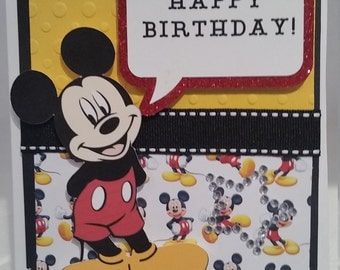 Handmade, handcrafted Mickey Mouse Birthday Card