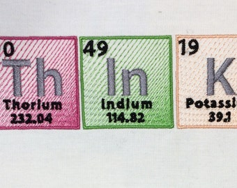 ThInK periodic table machine embroidery design 5x7