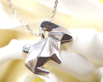 Sterling silver origami bunny necklace - Origami rabbit necklace / origami jewelery / silver origami / silver bunny necklace / rabbit