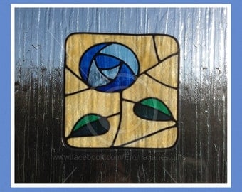 Rose Square in blue window cling, Mackintosh style reusable faux stained glass effect decal, static cling suncatcher decals