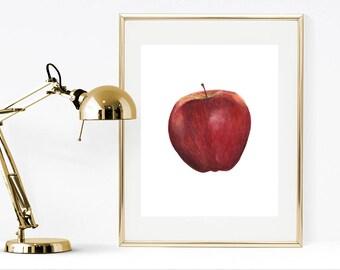 Fruit print, printable apple print, watercolor fruit print, watercolor print, realistic painting, watercolor apple print, kitchen print