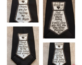 Personalised embroidered wedding tie label for groom, father of the bride, father of the groom or best man.