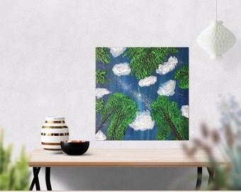 Night Sky Painting- Gift Art - Northern Lights Art - Aurora Borealis Painting - Textured Painting - Stars- Acrylic Painting - 12  x 12