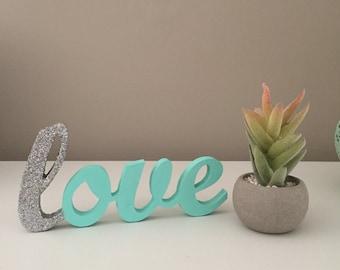 Aqua wooden love sign plaque wedding decor