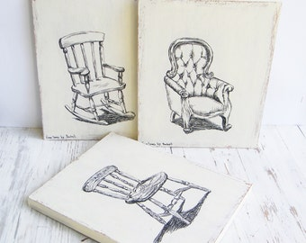 Print on wood - Black and white set of 3, Wall decor, Chairs print, Dorm decor, Wood signs, Vintage style prints, Kitchen decor, Gift idea