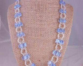 Vintage Blue Glass and Pearl Beaded Necklace