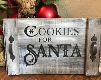 Cookies for Santa- hand painted tray -  santa decor,  christmas gifts, cookie decor, santa plate, christmas table decoration