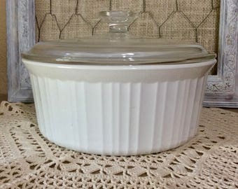 Vintage Corning Ware French White 2.5 Quart/Liter Round Casserole F-1-B with Glass Lid - Original PYROCERAM - Made in USA