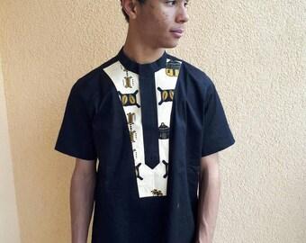 Njiki -African classic men's  shirt Black.