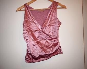 90's Metallic Pink Wrap Sleeveless Tank Top