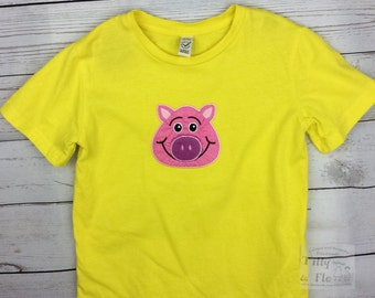 Yellow T Shirt - Pig Motif - age 5-6 - Organic Cotton - Kidswear - Girls Top - Boys Top - Pig Top - Vegan - Fairtrade