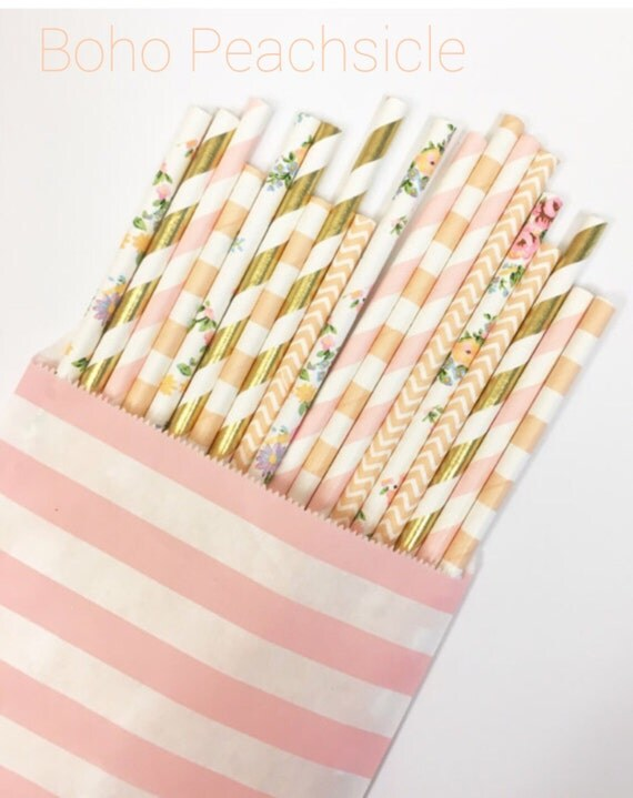 Boho Peachsicle Straw Mix//paper straws, straws, party supplies, party decorations, baby shower, borthday party, wedding, bachelorette party