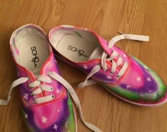 Tie Dyed Womens or Mens White Canvas Shoe Tennis Shoe any size you want