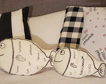 two fishes throw pillow decorative pillow fish shaped cushion hand painted handmade cushion