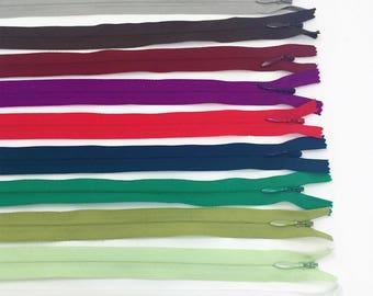 """9"""" YKK Invisible Zipper 25 Piece Multi-color Assortment Nylon Coil Closed Bottom"""