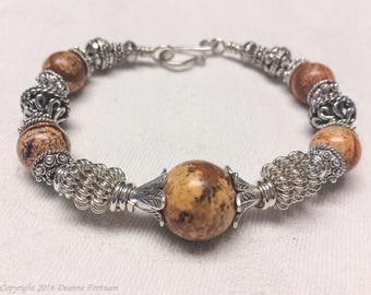 Picture Jasper and Sterling Silver Bracelet
