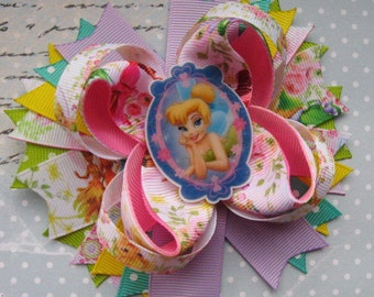 CHRISTMAS IN JULYHair bow Tinkerbell hair clip Tinkerberll party favours Birthday gift Baby hair bow Disney characters Hair barrette Girl...
