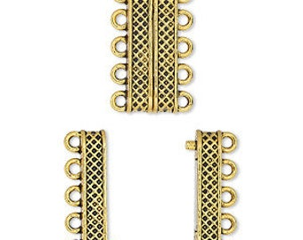 Magnetic Clasp, 5 Strand Clasp, Gold Clasp, 24.5x9mm rectangle, 1 Each, D1001