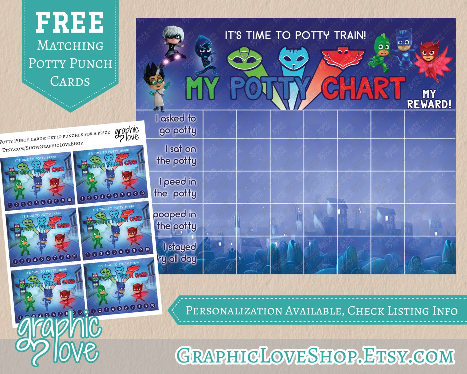 printable pj masks potty training chart set punch cards 🔎zoom