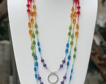Beaded lanyard -- Rainbow colors -- Badge holder -- Professional:  Rainbow (Model 170)