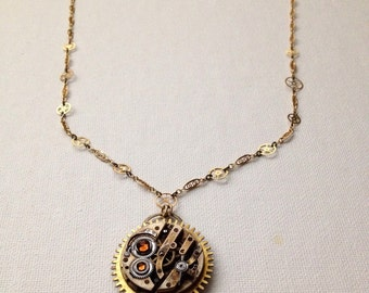 Brass gear steampunk necklace