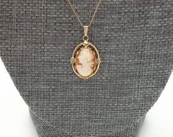 Cameo Pendant, Cameo Necklace, Gold Filled Cameo,  Carved Cameo Necklace, Carved Cameo Pendant, Cameo Jewelry, Small Cameo Pendant