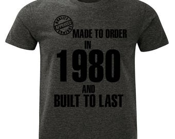 1980 Birthday T-Shirt. Made to Order/Built to Last design. Mens Charcoal Marl Grey.