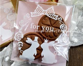 100pz rosa coniglio per voi biscotto caramelle borsa, sacchetti in plastica, festa, compleanno, bustina, sacchetto di cellophane