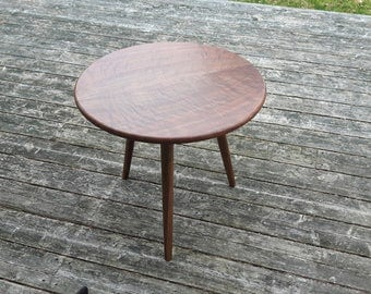Round Walnut Side Table 24""