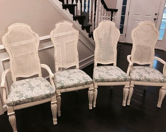 Distressed Dining Room Chairs, Cream Chairs, Vintage Dining Room Chairs,  Hand Painted Dining
