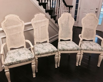 Distressed Dining Room Chairs Cream Vintage Hand Painted