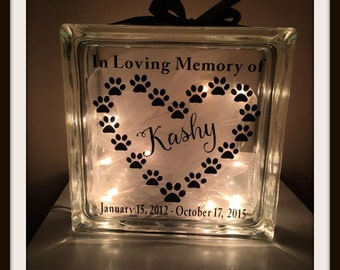 Pet memorial block, dog block, sympathy block, memorial block, memory block, pet lover, passed away pet, dog, glass block, loss block