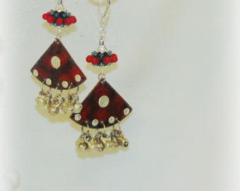Drop Earrings with Red Lampwork with Metal Drops & Silver Dangles