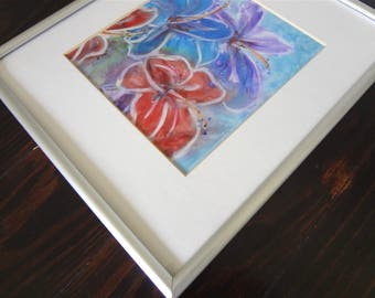 Abstract Painting / India Ink Framed Original Painting / India Ink Flower Painting