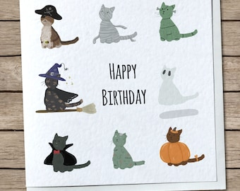 Spooky Kitties Greetings Card - Happy Birthday or Happy Halloween - Cats, Halloween, Horror, Cute - Customizable/Personalised