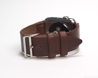 Apple Watch Leather Band with Official Apple Adapters (42mm) in Natural, Light Brown Horween Chromexcel Strip Leather