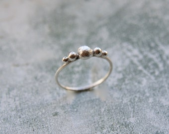 Handmade Silver Pebble Ring, Organic Silver Balls Ring, Sterling Silver Ring, Stacking Ring