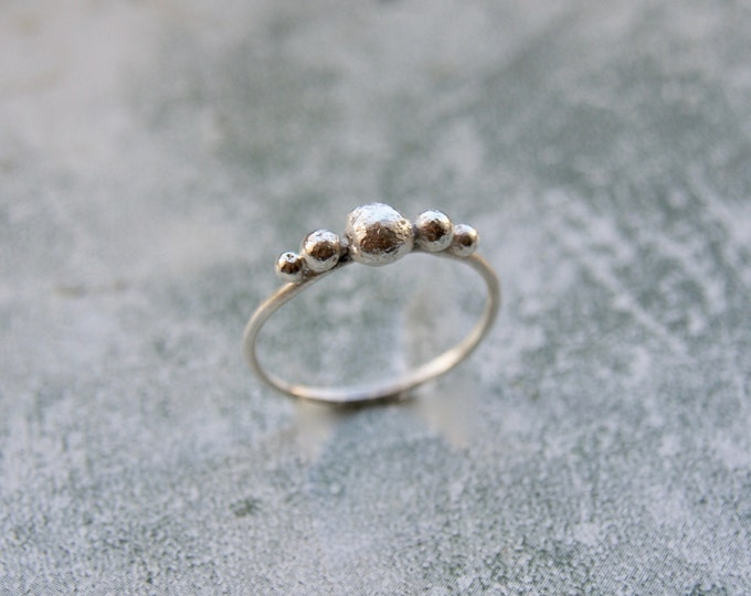 Featured listing image: Handmade Silver Pebble Ring, Organic Silver Balls Ring, Sterling Silver Ring, Stacking Ring