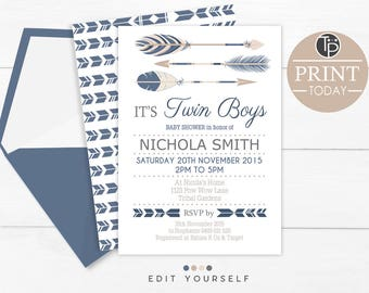 TRIBAL TWINS Baby Shower, Instant Download, Twin Boys Baby Shower Invitation, Twins Baby Shower Invitation, Boy Tribal Twins Invitation