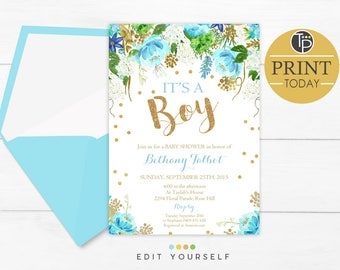 BOY Baby Shower Invitations, Blue Floral Baby Shower Invitation, Instant Download, Blue and Gold Baby Shower Invitation, Baby Boy Shower