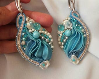 Sale!!!Shibori  soutache earrings, blue, beaded, pearl earring, bridal soutache