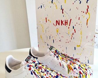 Baskets homme originals Adidas Stan smith J basses blanc/bleu cuir sneakers - jet peinture artiste - édition numérotée