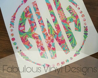 Lily Pulitzer Circle Arrow Monogram Decal, Vinyl Decal, Monogram Decal, Yeti Decal, Car Decal, Window Decal, Circle Decal