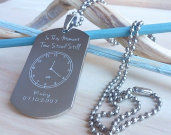 Time Stood Still Engraved Birth Date Keepsake Dog Tag Necklace  New Daddy Baby Gift