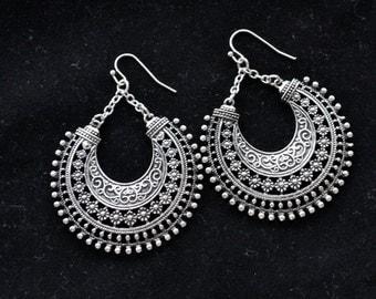Tribal Earrings, Silver Earrings, Silver Tribal Earrings, Boho Earrings, Boho, Long Tribal Earrings, Gypsy, Antique Silver (E369,379,383)