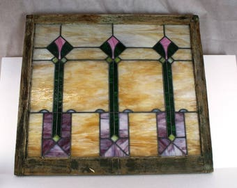 1920's Stained Glass Window, leaded glass, 32x36 all intact no breaks original Antique Vintage