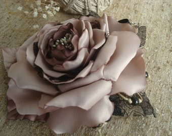 Beige Flower-Beige Rose-Beige fabric flower brooch Sash Corsage-Beige Rose Hair Piece-Fascinator-Bridal bridesmaid girl woman Hair Flower